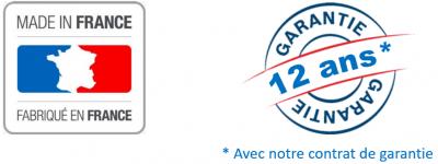 logo made in france et garantie 12 ans